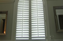 3.5″ louver, wood shutter, custom arch, with split tilt rail