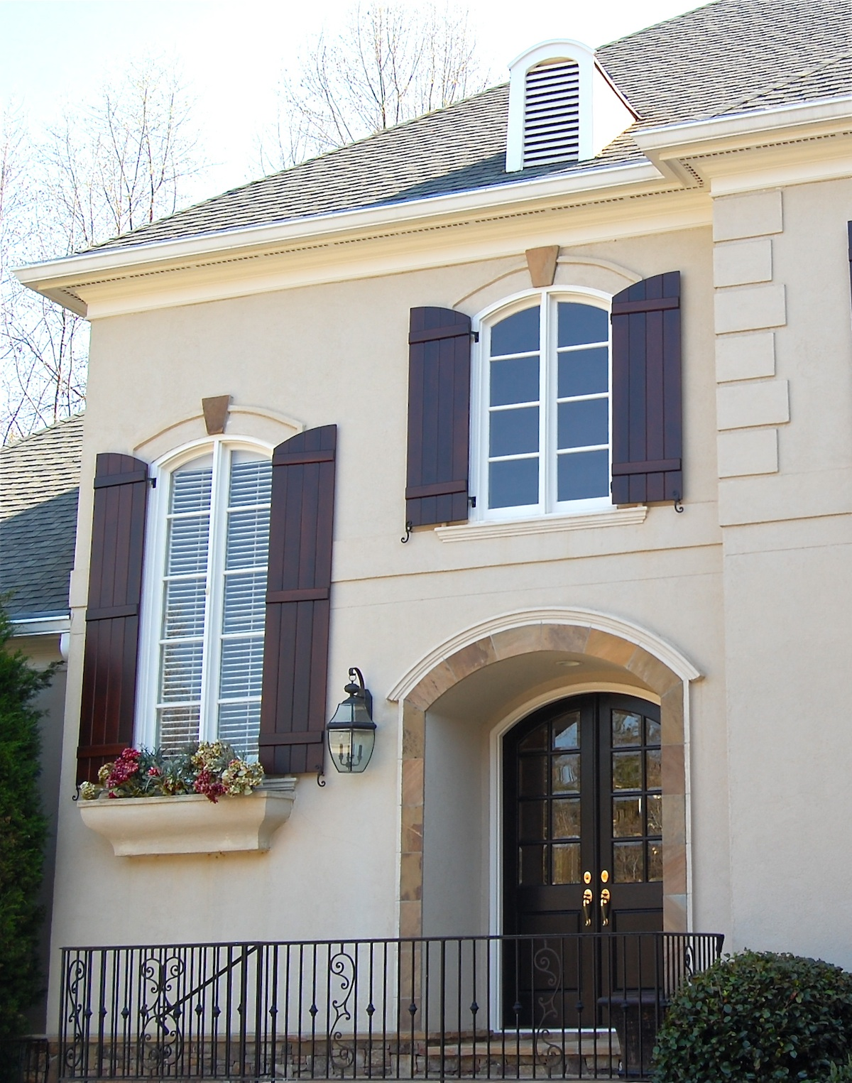 EXTERIOR Palisades Shutter Company - Stained exterior shutters